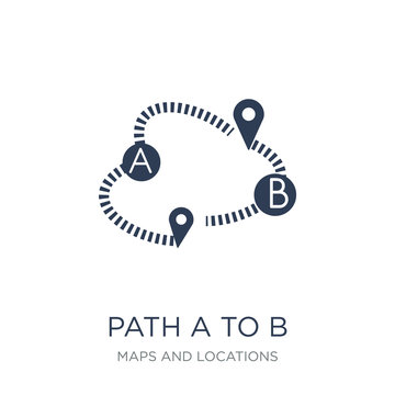 Path A to B icon. Trendy flat vector Path A to B icon on white background from Maps and Locations collection