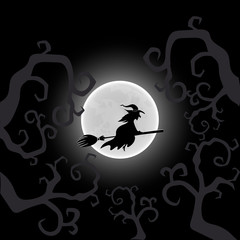 Vector illustration. Witch on a broom. Postcard to Halloween Party or celebration.