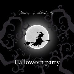 Vector illustration. Witch on a broom. Postcard invitation to Halloween Party.