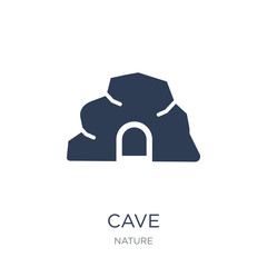 cave icon. Trendy flat vector cave icon on white background from nature collection