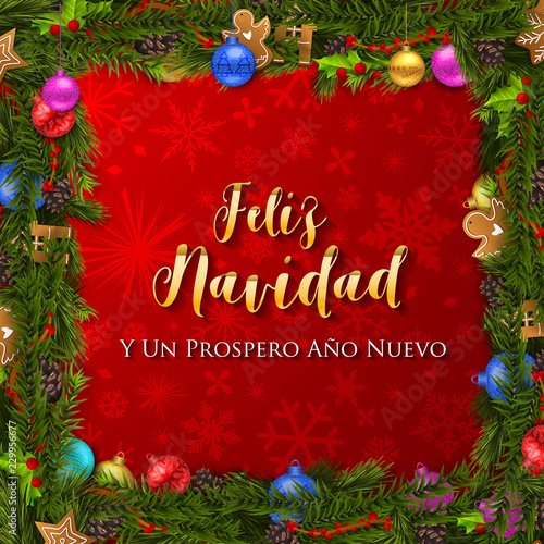 Christmas Eve In Spanish.Spanish Christmas And Happy New Year Greeting Card Stock