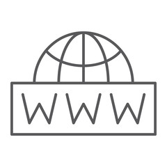 World wide net thin line icon, communication and network, internet sign, vector graphics, a linear pattern on a white background.