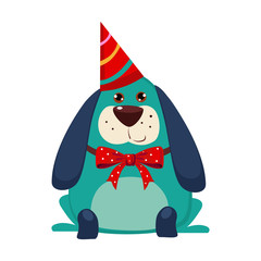 Little Dog with a Party Hat on. Vector Illustration
