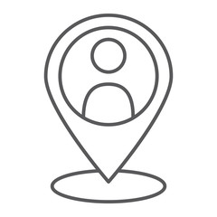 Local seo thin line icon, optimisation and location, pin sign, vector graphics, a linear pattern on a white background.