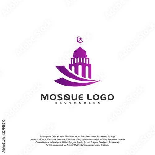 Islamic logo design vector  Mosque logo template  Muslims