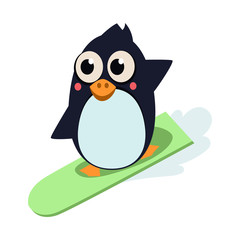 Penguin Surfing. Vector Illustartion
