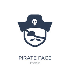 Pirate face icon. Trendy flat vector Pirate face icon on white background from People collection
