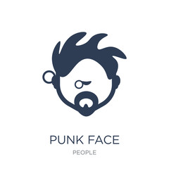 Punk face icon. Trendy flat vector Punk face icon on white background from People collection
