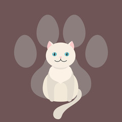 White cat sits dangling his tail. Vector. Cartoon pet.