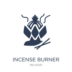 Incense burner icon. Trendy flat vector Incense burner icon on white background from Religion collection