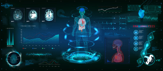 MRT futuristic scanning in HUD style design, Human body, organs and brain scan with pictures. Hi-tech elements. Virtual graphic touch HUD UI with illustration of DNA formula, cardiogram and data chart