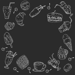 Circle made of elements. Hand drawn food and drinks on a chalkboard background