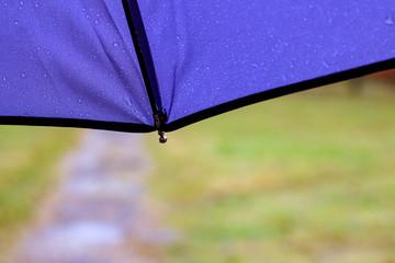 The edge of a blue umbrella with rain drops