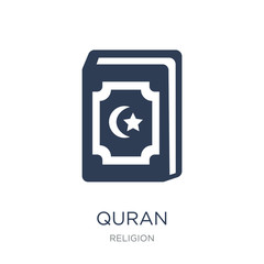 Quran icon. Trendy flat vector Quran icon on white background from Religion collection
