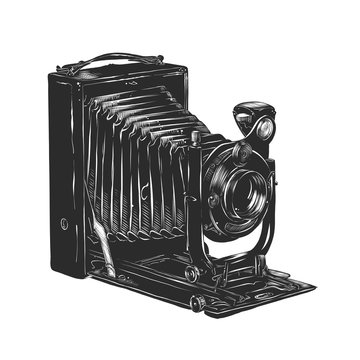 Vector engraved style illustration for posters, decoration and print. Hand drawn sketch of vintage camera in monochrome isolated on white background. Detailed woodcut style drawing.