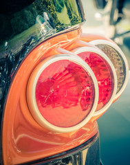 back view tail light of a customized motorcycle