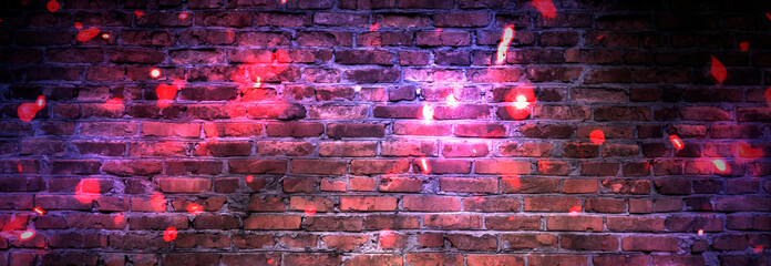 Dark basement room, sparks of fire and light on the walls. Neon lamps on the wall, night view....