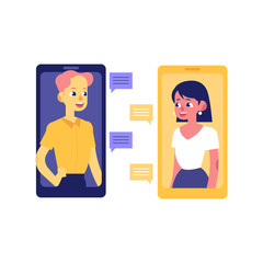 Flat man and woman chatting in love dating chat from smartphones with speech bubbles with smiles,with smile at face. Internet communications and romantic relationships. Vector illustration