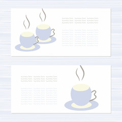 Template. Set. Postcard invitation. Image mugs. Sketch. Abstract