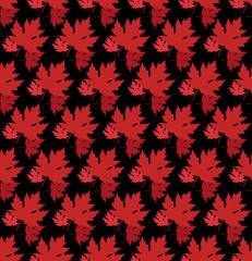 drawn autumn background with beautiful leaves . Seamless pattern texture. Red maple leaves, Vector isolated or black background