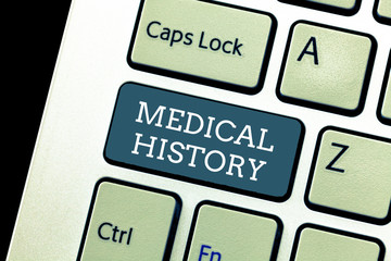 Writing note showing Medical History. Business photo showcasing the past background of a demonstrating in terms of health.