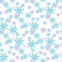 Blue snowflakes on a white background. Wallpaper, texture, background. Seamless.