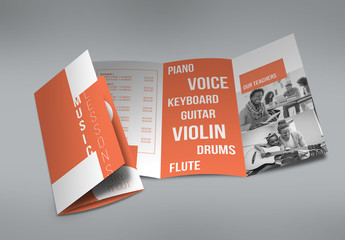 Orange and White Trifold Brochure Layout