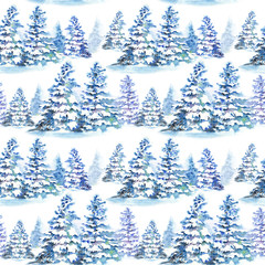 Seamless pattern with winter fir trees under snow. Watercolor illustration on white background.