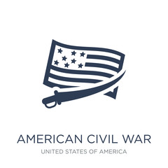 american civil war icon. Trendy flat vector american civil war icon on white background from United States of America collection