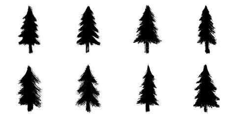 Set of 8 hand-drawn coniferous trees isolated on white background. Christmas illustration. Doodle style grunge shapes.