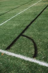 Line marking on a soccer field