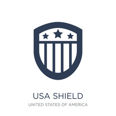 Usa shield icon. Trendy flat vector Usa shield icon on white background from United States of America collection