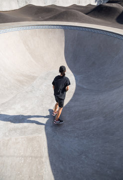 Young skater in a skate park