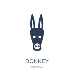 Donkey icon. Trendy flat vector Donkey icon on white background from animals collection