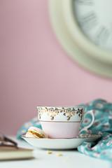 Vintage teacup and macaron