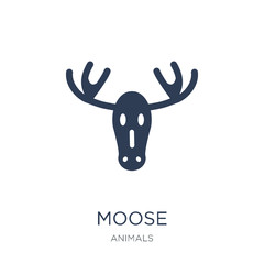 Moose icon. Trendy flat vector Moose icon on white background from animals collection