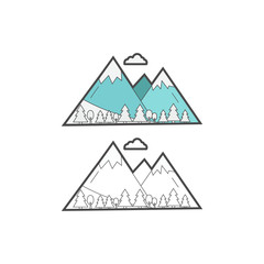 Color and black icons of mountains with trees. Web icon for tourism and skiing. Vector