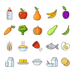 Organic food for babies vector set. Healthy meal for children. Cartoon set with isolated fruits, vegetables, meat, milk. Kid's menu infographic.