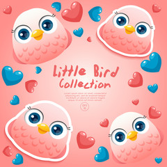 Cute Baby Birds Surrounding with Hearts : Vector Illustration