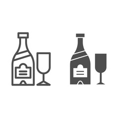 Champagne bottle and glass line and glyph icon. Alcohol vector illustration isolated on white. Drink outline style design, designed for web and app. Eps 10.
