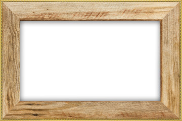 Classic vintage wood with gilded  frame isolated on white background.