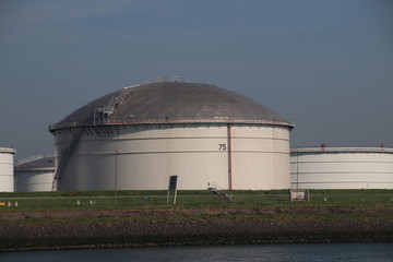 Storage tanks terminals in the Maasvlakte and Europoort harbor in the Port of Rotterdam in the Netherlands.