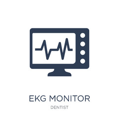 Ekg monitor icon. Trendy flat vector Ekg monitor icon on white background from Dentist collection