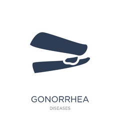 Gonorrhea icon. Trendy flat vector Gonorrhea icon on white background from Diseases collection