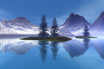 Coniferous trees, an alpine landscape, reflection on the lake's waters, snowy mountains and a blue sky.