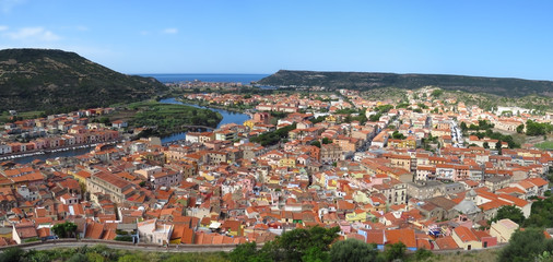 The picturesque medieval town of Bosa with the colourful houses and  the river Temo lies close to the Mediterranean Sea, Sardinia, Italy