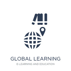 Global learning icon. Trendy flat vector Global learning icon on white background from E-learning and education collection