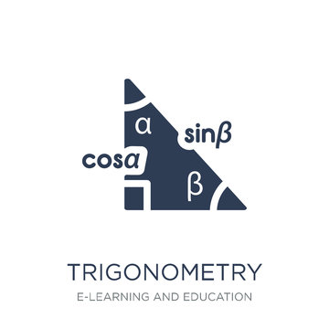 Trigonometry icon. Trendy flat vector Trigonometry icon on white background from E-learning and education collection