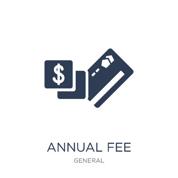 annual fee icon. Trendy flat vector annual fee icon on white background from general collection
