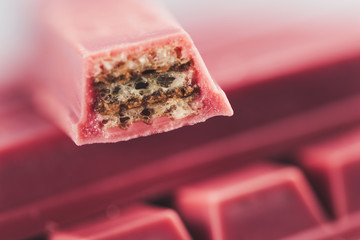 Printed kitchen splashbacks Cat Finger Ruby Chocolate Bar made from ruby cocoa bean. New dimension of chocolate sweets.